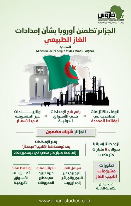 الجزائر تطمئن أوروبا بشأن إمدادات الغاز الطبيعي